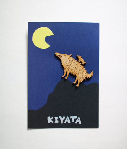 Lasercut Wooden Wolf Brooch