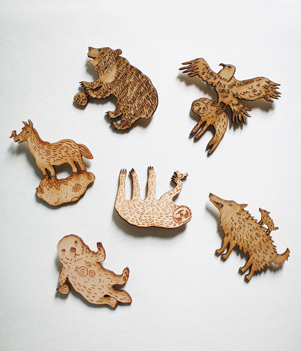 Lasercut Wooden Brooches