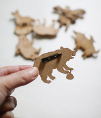Lasercut Wooden Hawk Catching Sloth Brooch