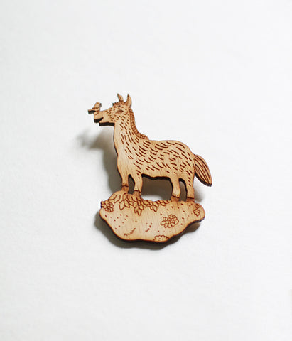 Lasercut Wooden Donkey Brooch