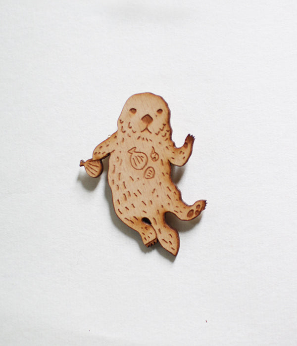Lasercut Wooden Sea Otter Brooch