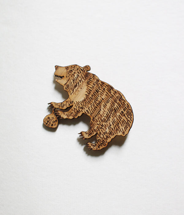 Lasercut Wooden Bear Brooch