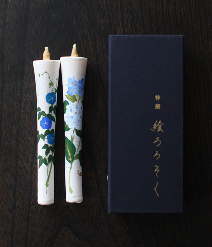 Flower Painted Japanese Candles {Hydrangea & Asagao}