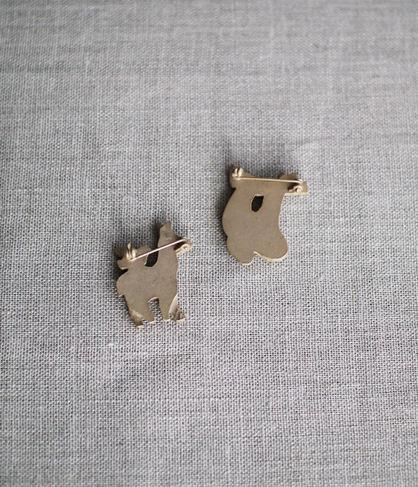 KIYATA Tin Brooch {Donkey & Bird}
