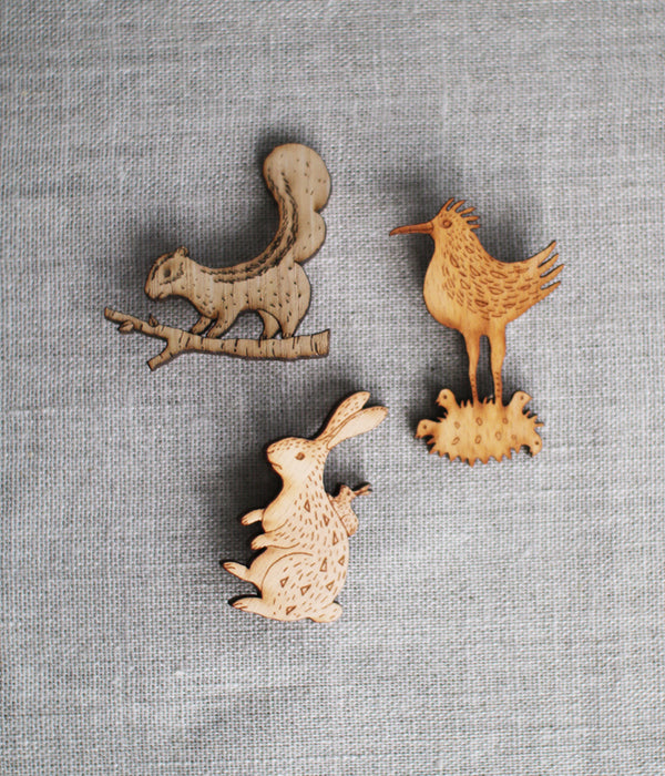 Lasercut Wooden Rabbit Brooch