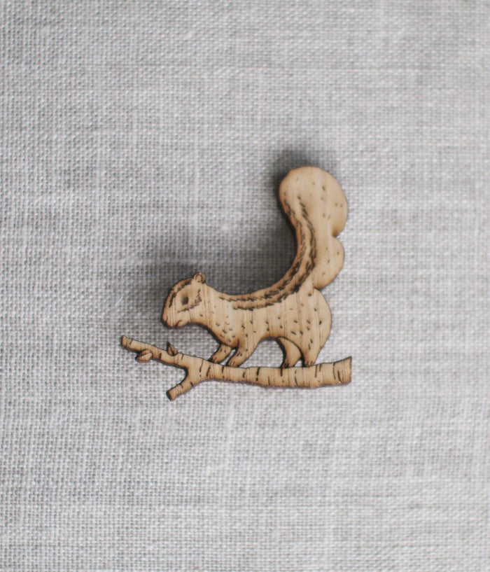 Lasercut Wooden Squirrel Brooch