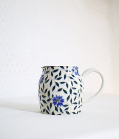 Dark Blue Flower Jug [B]