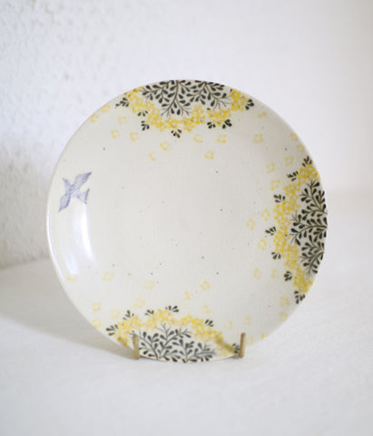 [SOLD OUT] Yellow Flower & Bird Plate 16.5cm