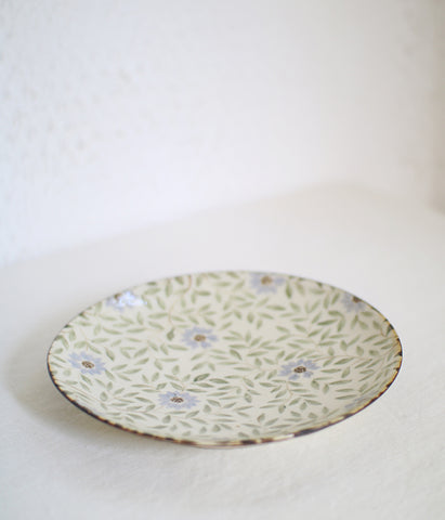 Pale Blue Flower Plate 19cm