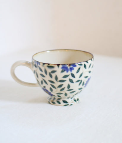 Dark Blue Flowers Mug