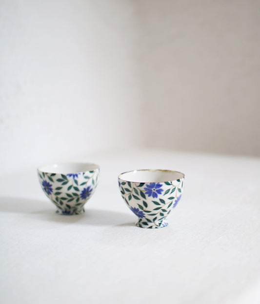 Dark Blue Flower Mini Tea Cups (Set of 2)