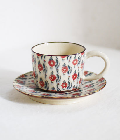 [SOLD OUT] Red Flower Teacup & Saucer
