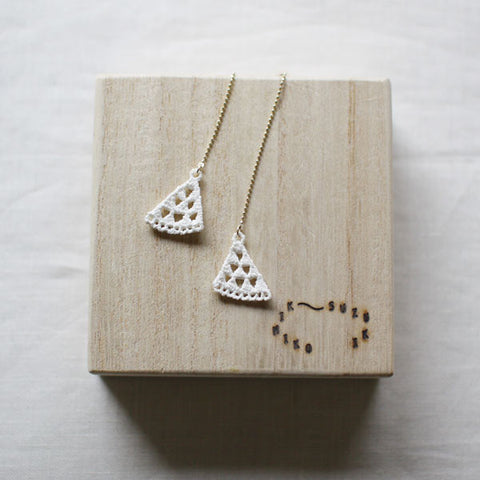 Kimiko Suzuki Hakuji White Porcelain Threader Earrings {Triangle}