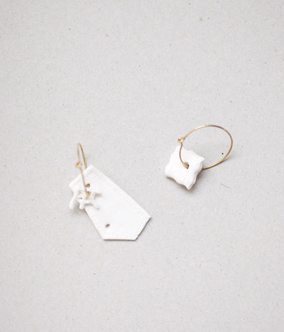Kimiko Suzuki Hoop Earrings White Porcelain x Gold #20