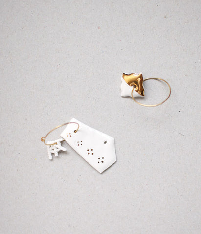 [SOLD OUT] Kimiko Suzuki Hoop Earrings White Porcelain x Gold #20