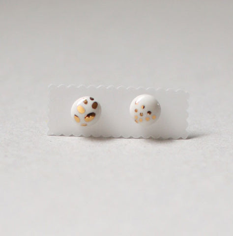 Kimiko Suzuki Ceramic Porcelain Tablet Stud Earrings #58
