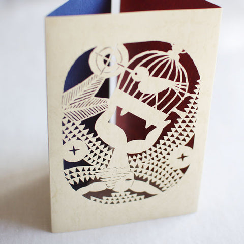 Takei Takeo Artist's Book Cut-Out Greeting Card {Bird Charmer}