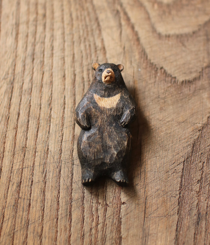 Carved Wood Bear Brooch