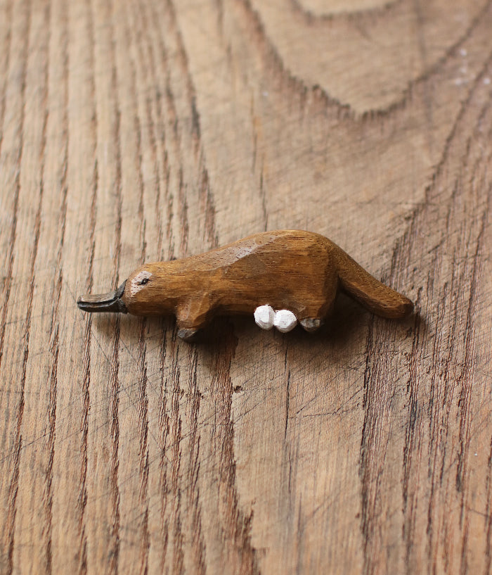 Carved Wood Platypus Brooch