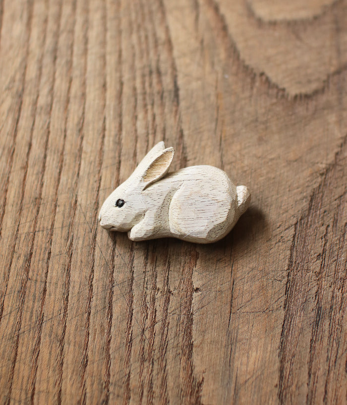 Carved Wood White Rabbit Brooch