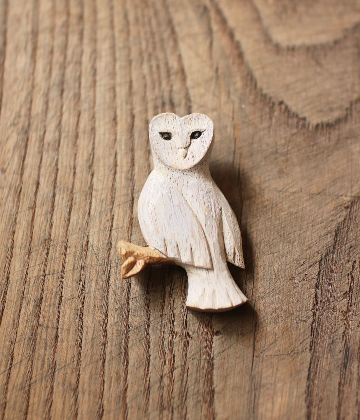 Carved Wood White Barn Owl Brooch