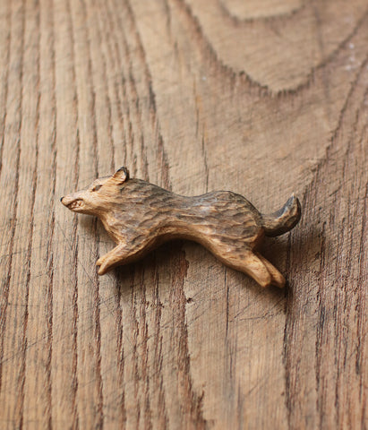 Carved Wood Wolf Brooch