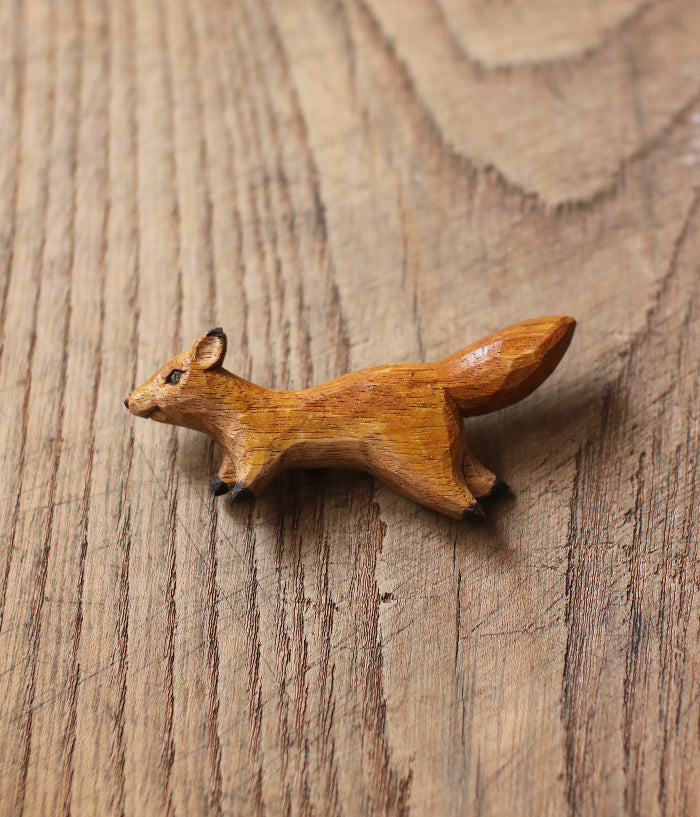 Carved Wood Fox Brooch