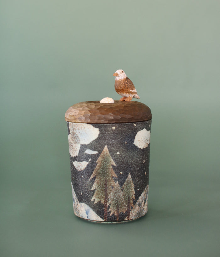 Ceramic Canister with Wood Bird Lid
