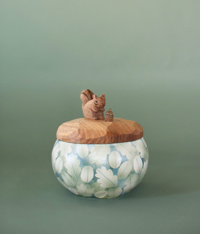 Ceramic Canister with Wood Squirrel Lid