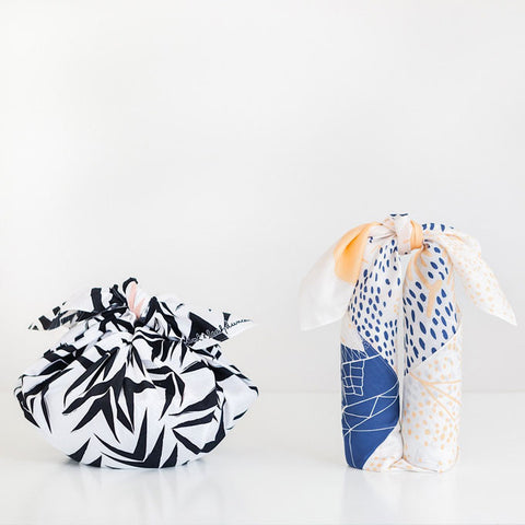 Furoshiki Wrapping Cloth - LINK x Leah Duncan {Mountain Blossom} Dark Blue x Peach