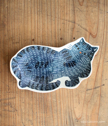 KATA KATA Cat Large Plate {Blue}