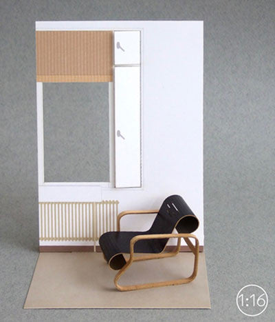 1:16 scale paper model chair {Paimio chair (Armchair 41)}