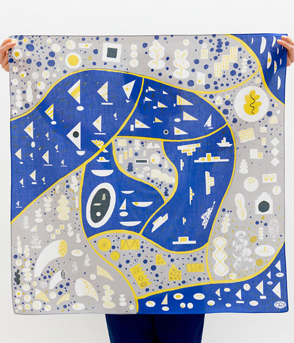 Furoshiki Wrapping Cloth {Stockholm} Blue/Grey/Yellow
