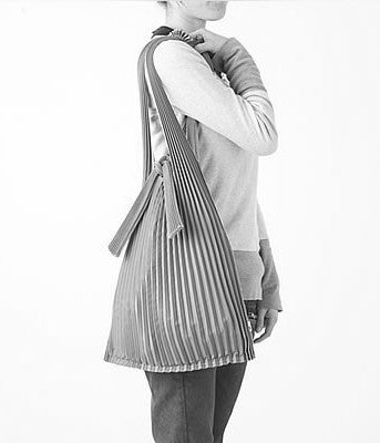 [Backorder] Pleated Eco-Bag Large {Silver/Beige}