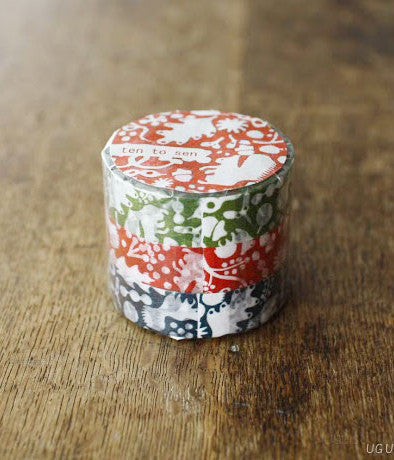 Ten-to-sen Washi Tape 3 Roll Set {Squirrel}
