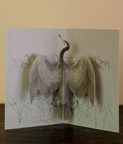 Tobidustry Pop-Up Bird Card {Great Cormorant} BACKORDER