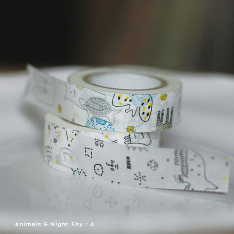Torinoko Washi Tape 2 Roll Set {Animal & Night Sky}