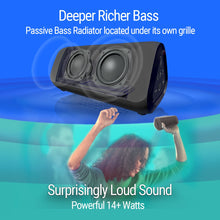 Load image into Gallery viewer, RLX Ultra Portable Bluetooth Speaker: 14-Watts Deliver Bigger Bass and Hi-Quality Sound, 100ft Wireless Range, Play Two Together for Music in Dual Stereo, IPX-6 Splashproof Black
