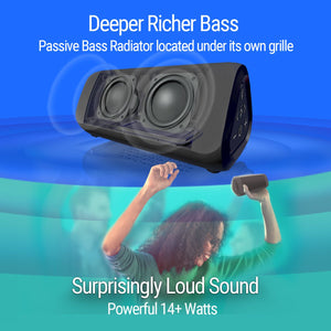 RLX Ultra Portable Bluetooth Speaker: 14-Watts Deliver Bigger Bass and Hi-Quality Sound, 100ft Wireless Range, Play Two Together for Music in Dual Stereo, IPX-6 Splashproof Black