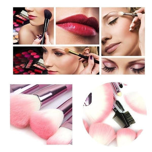 22Pcs Fashion Professional Soft Pink Cosmetic Eyebrow Shadow Makeup Brush Set Kit + Pouch Bag Case