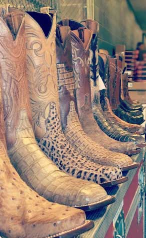 Lucchese Boots Lined up backstage