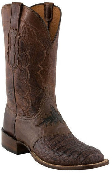 Lucchese C1064 Mens Barrel Brown Hornback Caiman Boot