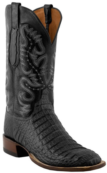 Lucchese C1065.W8 Mens Black Hornback Caiman Crocodile Back Cut Boots - Made in the USA