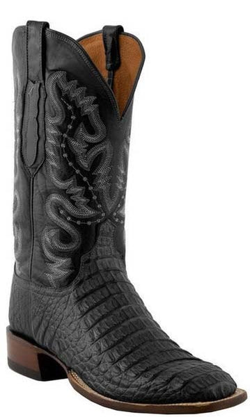 Lucchese C1065.W8 Mens Black Waxy Hornback Caiman Crocodile Boots