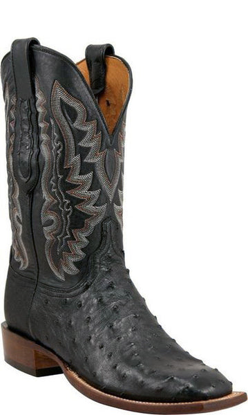 Lucchese C1102.W8 Mens Black Full Quill Ostrich Boots