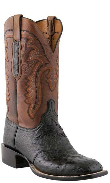 Lucchese C1116.W8 Mens Black Full Quill Ostrich Boots