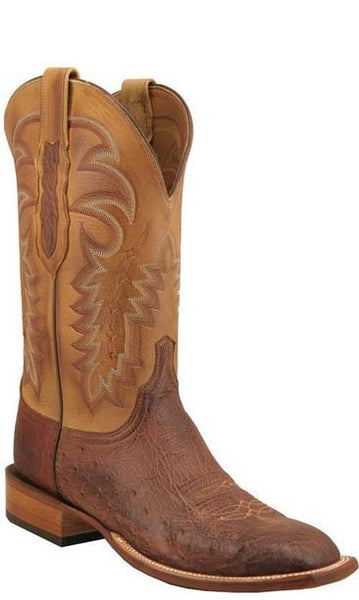 Lucchese C1304.W8 Mens Barnwood Brown Smooth Ostrich Boots