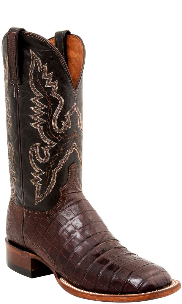 Men's Lucchese Bootmaker Trent W Toe Cowboy Boot, Size: 8 D, Barrel Brown Caiman Crocodile Belly