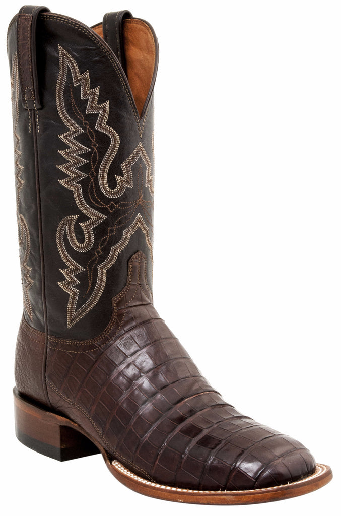 Lucchese TRENT CL1006.WF Mens Barrel Brown Belly Caiman Crocodile Tail Boots Size 13 D STALL STOCK