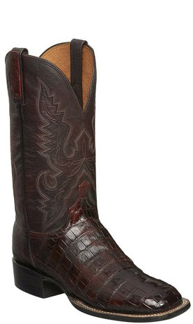 Lucchese CL1007.WF TRENT Mens Black Cherry Belly Caiman Crocodile Tail Boots